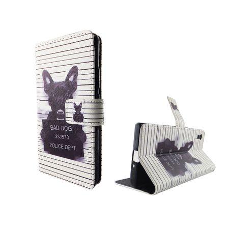 Handyhülle Tasche für Handy Sony Xperia XZ Böser Hund Weiß
