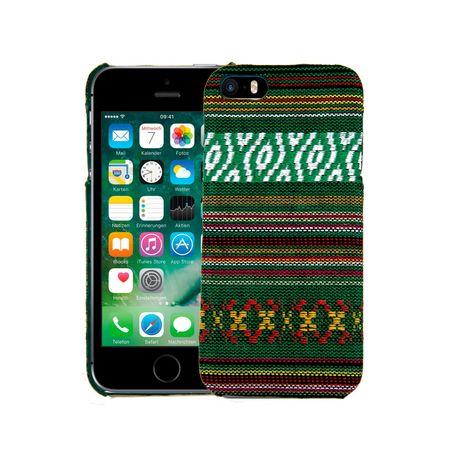 Handyhülle aus Stoff-Case für Apple iPhone 5 / 5s / SE Cover Etuis Bumper Grün
