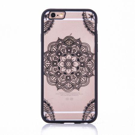 Handy Hülle Mandala für Apple iPhone 7 Design Case Schutzhülle Motiv Indianische Spitze Cover Tasche Bumper Schwarz