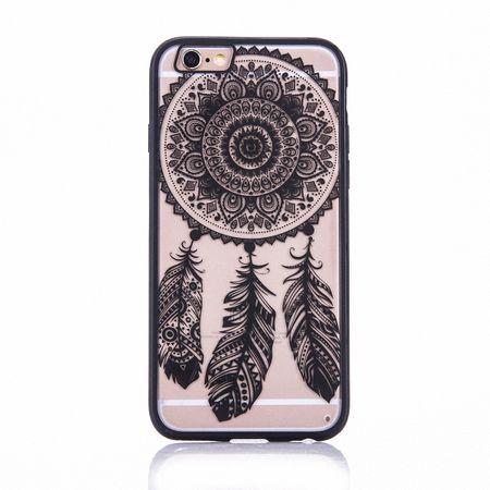 Handy Hülle Mandala für Samsung Galaxy S6 Edge Design Case Schutzhülle Motiv Traumfänger Cover Tasche Bumper Schwarz