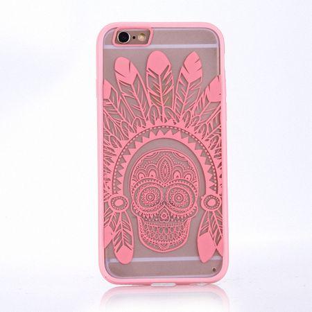Handy Hülle Mandala für Samsung Galaxy S6 Edge Design Case Schutzhülle Motiv Federn Totenkopf Cover Tasche Bumper Rosa