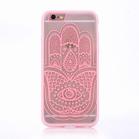 Handy Hülle Mandala für Samsung Galaxy S6 Edge Design Case Schutzhülle Motiv Hand Fatima Cover Tasche Bumper Rosa