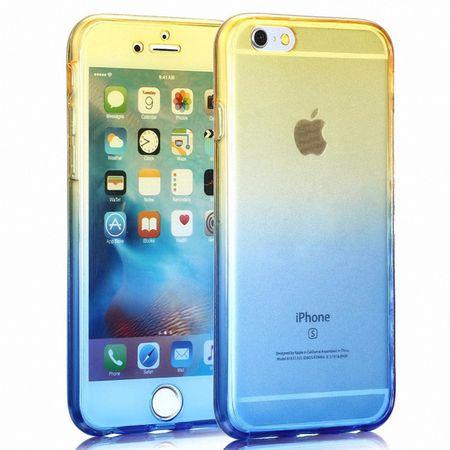 Crystal Case Hülle für Apple iPhone 7 Gelb Blau Rahmen Full Body