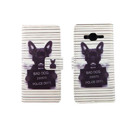Handyhülle Tasche für Handy Samsung Galaxy J3 Böser Hund Weiß – Bild 3