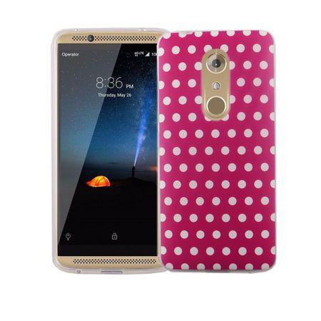 Handy Hülle für ZTE Axon 7 Cover Case Schutz Tasche Motiv Slim Silikon TPU Polka Dot Pink – Bild 2