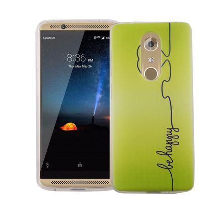 Handy Hülle für ZTE Axon 7 Cover Case Schutz Tasche Motiv Slim Silikon TPU Be Happy Grün