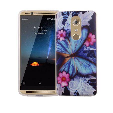 Handy Hülle für ZTE Axon 7 Cover Case Schutz Tasche Motiv Slim Silikon TPU Blauer Schmetterling