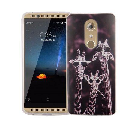 Handy Hülle für ZTE Axon 7 Cover Case Schutz Tasche Motiv Slim Silikon TPU 3 Giraffen
