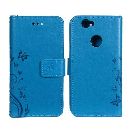 Schutz Hülle Blumen für Handy Huawei Nova Blau – Bild 3