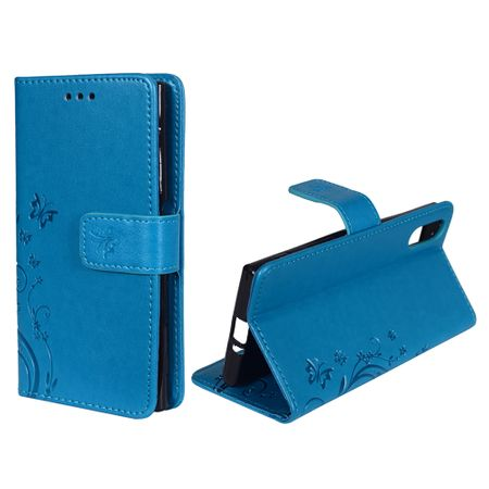 Schutz Hülle Blumen für Handy Sony Xperia XZ Blau