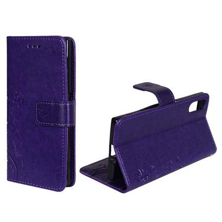 Schutz Hülle Blumen für Handy Sony Xperia XZ Violett