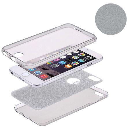 Crystal Case Hülle für Apple iPhone 5 / 5s / SE Glitzer Case Grau Full Body