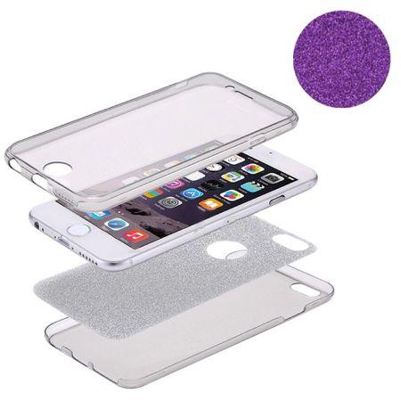 Crystal Case Hülle für Apple iPhone 5 / 5s / SE Glitzer Case Violett Full Body