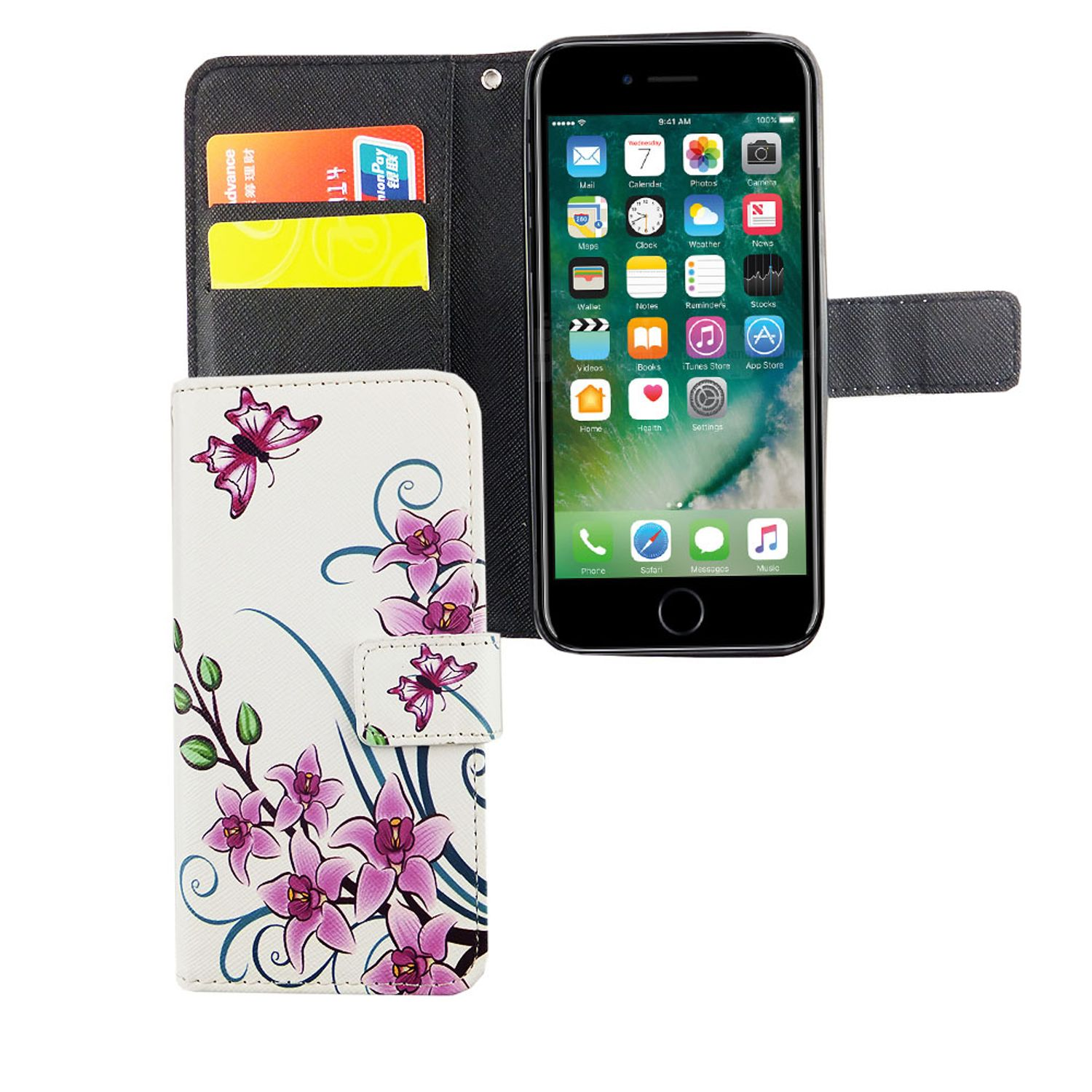 handyh lle tasche f r handy apple iphone 6 6s lotusblume. Black Bedroom Furniture Sets. Home Design Ideas