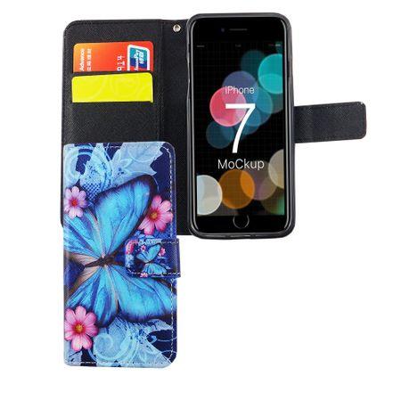 Handyhülle Tasche für Handy Apple iPhone 7 Blauer Schmetterling