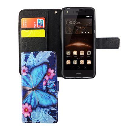 Handyhülle Tasche für Handy Huawei Y5 II / 2 Blauer Schmetterling – Bild 3