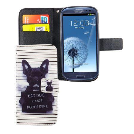 Handyhülle Tasche für Handy Samsung Galaxy S3 / S3 Neo Böser Hund Weiß