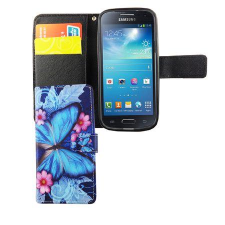 Handyhülle Tasche für Handy Samsung Galaxy S4 Mini Blauer Schmetterling – Bild 3
