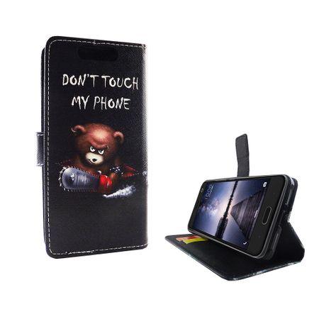 Handyhülle Tasche für Handy ZTE Blade V8 Schriftzug Bär mit Kettensäge – Bild 4