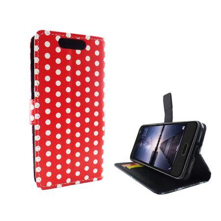 Handyhülle Tasche für Handy ZTE Blade V8 Polka Dot Rot – Bild 4