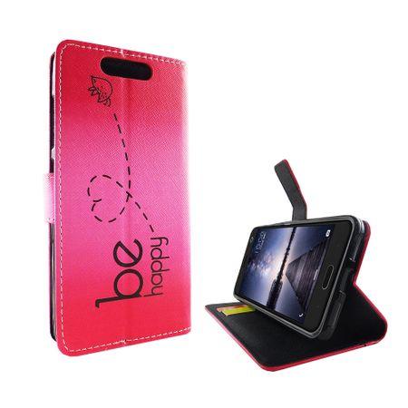 Handyhülle Tasche für Handy ZTE Blade V8 Be Happy Pink – Bild 4