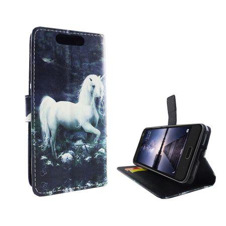 Handyhülle Tasche für Handy ZTE Blade V8 Einhorn Weiß – Bild 2