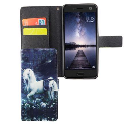 Handyhülle Tasche für Handy ZTE Blade V8 Einhorn Weiß – Bild 5