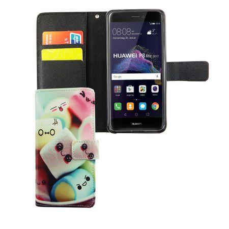 Handyhülle Tasche für Handy Huawei P8 Lite 2017 Schriftzug Marshmallows