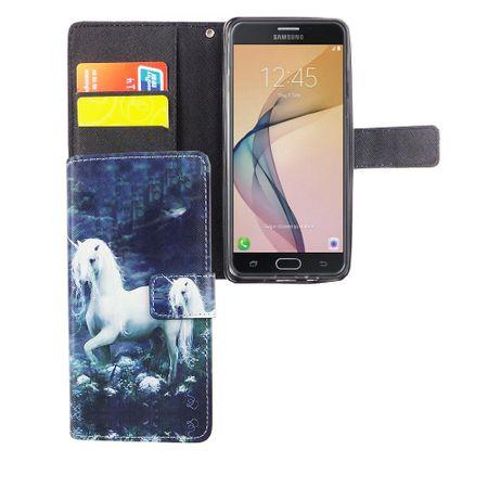 Handyhülle Tasche für Handy Samsung Galaxy J5 Prime Einhorn Weiß – Bild 3