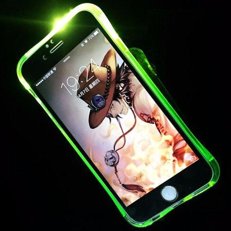 Handy Hülle LED Licht bei Anruf für Handy Apple iPhone 5 / 5s / SE Grün – Bild 1
