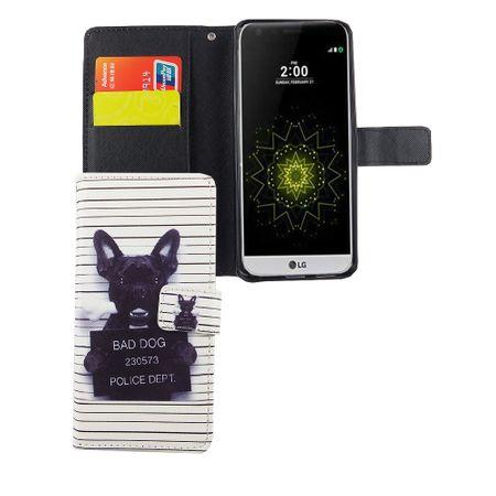 Handyhülle Tasche für Handy LG G6 Böser Hund Weiß