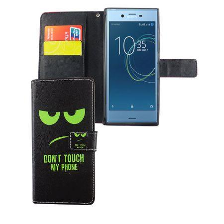 Handyhülle Tasche für Handy Sony Xperia XZs Dont Touch My Phone Grün