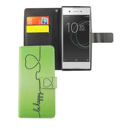 Handyhülle Tasche für Handy Sony Xperia XA1 Be Happy Grün