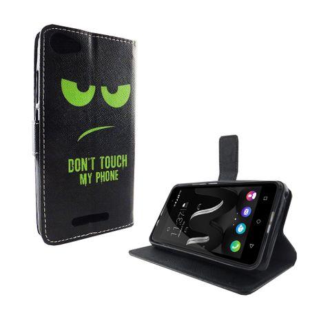 Handyhülle Tasche für Handy Wiko Jerry Dont Touch My Phone Grün – Bild 6