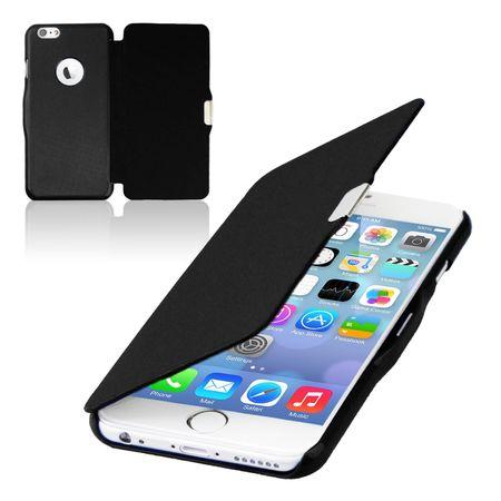 Flip Cover Schutzhülle Case Handyhülle Bookstyle für Apple iPhone 6 / 6s Plus Schwarz