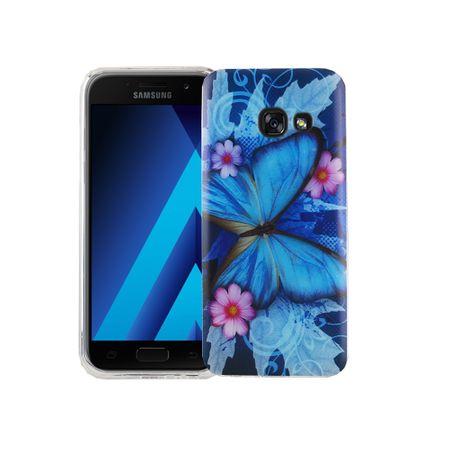 Handy Hülle für Samsung Galaxy A3 2017 Cover Case Schutz Tasche Motiv Slim Silikon TPU Blauer Schmetterling