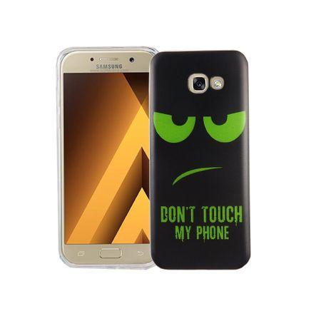 Handy Hülle für Samsung Galaxy A5 2017 Cover Case Schutz Tasche Motiv Slim Silikon TPU Dont Touch my Phone Grün – Bild 1