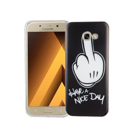 Handy Hülle für Samsung Galaxy A5 2017 Cover Case Schutz Tasche Motiv Slim Silikon TPU Mittelfinger