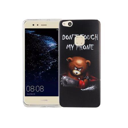 Handy Hülle für Huawei P10 Lite Cover Case Schutz Tasche Motiv Slim Silikon TPU Schriftzug Bär mit Kettensäge