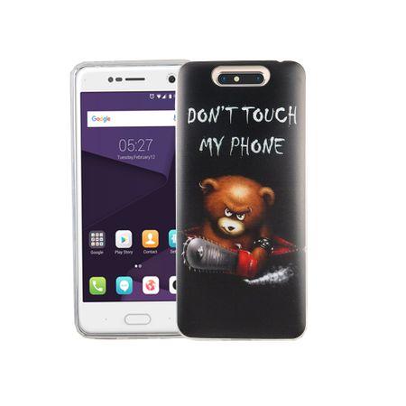 Handy Hülle für ZTE Blade V8 Cover Case Schutz Tasche Motiv Slim Silikon TPU Schriftzug Bär mit Kettensäge