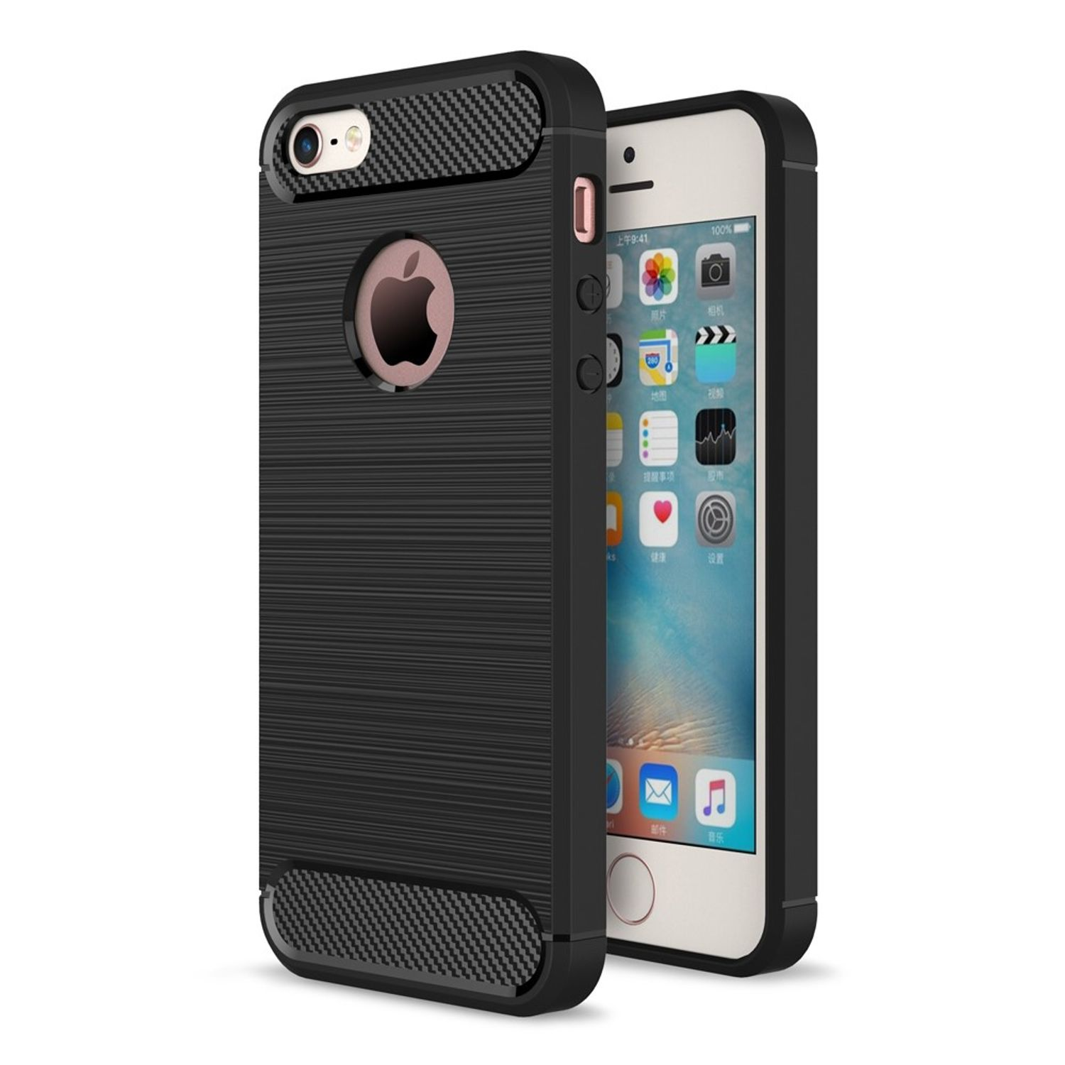 apple iphone 5 5s se tpu case carbon fiber optik brushed schutz h lle schwarz ebay. Black Bedroom Furniture Sets. Home Design Ideas