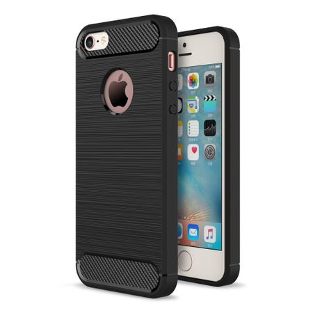Apple iPhone 5 / 5s / SE Cover TPU Case Silikon Schutz-Hülle Handy Bumper Carbon Optik Schwarz