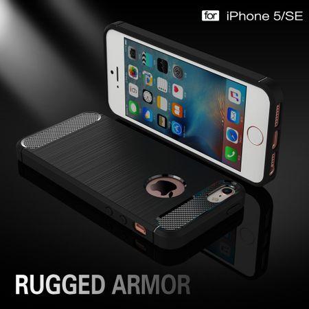 Apple iPhone 5 / 5s / SE Cover TPU Case Silikon Schutz-Hülle Handy Bumper Carbon Optik Schwarz – Bild 5