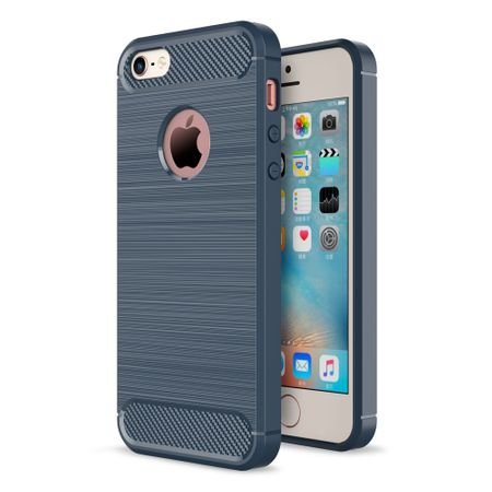 Apple iPhone 5 / 5s / SE Cover TPU Case Silikon Schutz-Hülle Handy Bumper Carbon Optik Blau