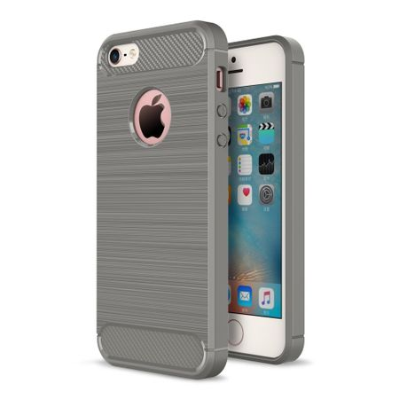 Apple iPhone 5 / 5s / SE Cover TPU Case Silikon Schutz-Hülle Handy Bumper Carbon Optik Grau