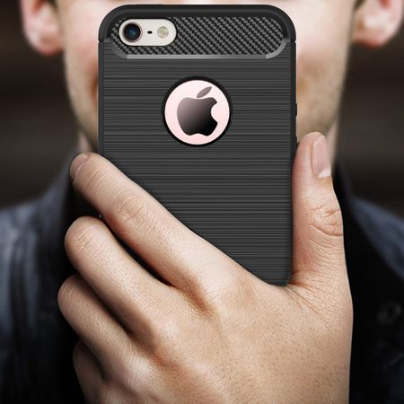 Apple iPhone 5 / 5s / SE Cover TPU Case Silikon Schutz-Hülle Handy Bumper Carbon Optik Grau – Bild 2