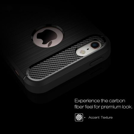 Apple iPhone 5 / 5s / SE Cover TPU Case Silikon Schutz-Hülle Handy Bumper Carbon Optik Grau – Bild 3