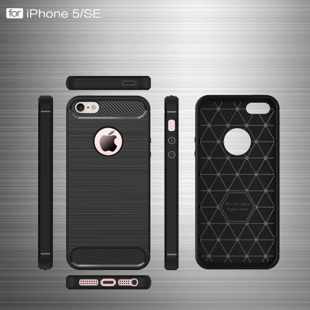 Apple iPhone 5 / 5s / SE Cover TPU Case Silikon Schutz-Hülle Handy Bumper Carbon Optik Grau – Bild 7