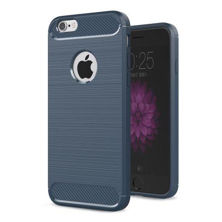 Apple iPhone 6 / 6s Cover TPU Case Silikon Schutz-Hülle Handy Bumper Carbon Optik Blau – Bild 1