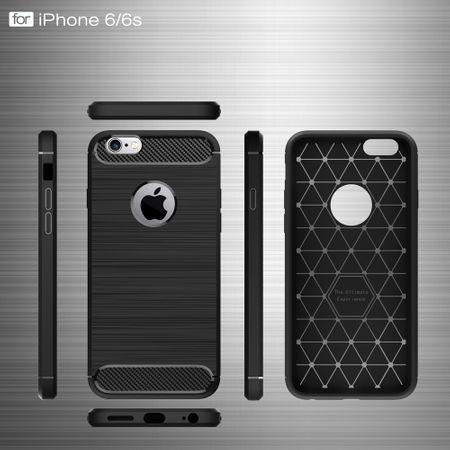 Apple iPhone 6 / 6s Cover TPU Case Silikon Schutz-Hülle Handy Bumper Carbon Optik Blau – Bild 6